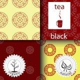 Vektoruppsättning av designbeståndsdelar och symboler i moderiktig linjär stil för svart och grönt te för tepacke - royaltyfri illustrationer