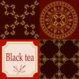 Vektoruppsättning av designbeståndsdelar och symboler i moderiktig linjär stil för tepacken - assam, indisk och svart te royaltyfri illustrationer