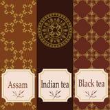 Vektoruppsättning av designbeståndsdelar och symboler i moderiktig linjär stil för tepacken - assam, indisk och svart te vektor illustrationer