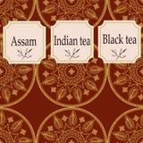 Vektoruppsättning av designbeståndsdelar och symboler i moderiktig linjär stil för tepacken - assam, indisk och svart te stock illustrationer
