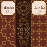 Vektoruppsättning av designbeståndsdelar och symboler i moderiktig linjär stil för tepacken - assam, indisk och svart te Royaltyfria Bilder