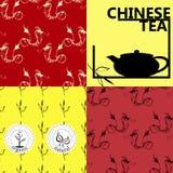 Vektoruppsättning av designbeståndsdelar och symboler i moderiktig linjär stil för tepacken - kinesiskt te Royaltyfri Bild