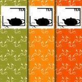 Vektoruppsättning av designbeståndsdelar och symboler i moderiktig linjär stil för tepacken - kinesiskt te Arkivfoton