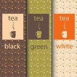Vektoruppsättning av designbeståndsdelar och symboler i moderiktig linjär stil för tepacken - svart och grön te för vit, Arkivfoto