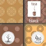Vektoruppsättning av designbeståndsdelar och symboler i moderiktig linjär stil för tepacken - svart te Arkivfoton