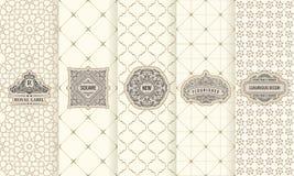 Vektoruppsättning av designbeståndsdeletiketter, symbol, logo, ram, lyx som förpackar för produkten royaltyfri illustrationer