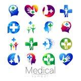 VektorUPPSÄTTNING av det medicinska tecknet med korset inom, mänsklig profil Symbol för doktorer, website, besökkort, symbol Blåt Arkivfoton