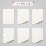 Vektoruppsättning av det pappers- arket, texturanteckningsbok Royaltyfri Fotografi