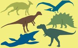Vektoruppsättning av dinosaurier Royaltyfri Bild