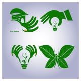 Vektoruppsättning av ekologisymboler Arkivbild