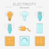 Vektoruppsättning av elektricitetssymboler, inklusive hjälpmedel Arkivbilder