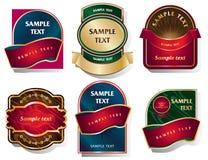 Vektoruppsättning av etiketter i en klassisk stil stock illustrationer
