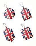 Vektoruppsättning av etiketter med den Förenade kungariket flaggan Royaltyfri Bild