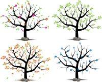 Vektoruppsättning av ett träd i 4 säsonger royaltyfri bild