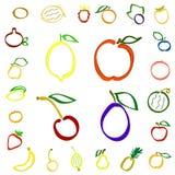 Vektoruppsättning av färgrik frukt och bär Royaltyfri Illustrationer