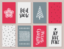 Vektoruppsättning av färgrik jul, kort för nytt år royaltyfri illustrationer