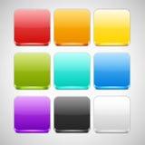 Uppsättning av färgrika App-symbolsbakgrunder Arkivbilder