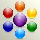 Vektoruppsättning av färgrika crystal jordklot Royaltyfri Bild