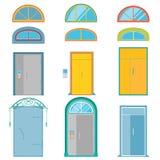 Vektoruppsättning av färgrika dörrar och lunetter på vit bakgrund Slösa, gulna, gråna, lilor, turkos Arkivbilder