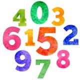 Vektoruppsättning av färgrika nummer för vattenfärg Arkivfoton
