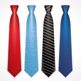 Vektoruppsättning av färgrika slipsar stock illustrationer
