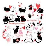 Vektoruppsättning av förälskade katter Royaltyfri Fotografi