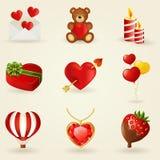 Vektoruppsättning av förälskelse- och romantikersymboler. Royaltyfria Bilder