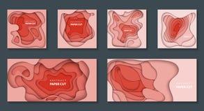 Vektoruppsättning av 6 för korallfärg för trend pastellfärgade bakgrunder med former för lutningpapperssnitt 3D abstrakt pappers- vektor illustrationer