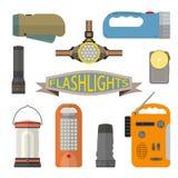 Vektoruppsättning av ficklampor i plan stil Designbeståndsdelar och symboler på vit bakgrund Billykta handlampa royaltyfri illustrationer