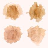 Vektoruppsättning av fläckar och färgstänk av kaffe stock illustrationer