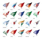 Vektoruppsättning av flaggor av G20en royaltyfri illustrationer