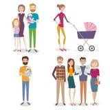 Vektoruppsättning av folk med familjen och ungar på en backgro stock illustrationer