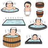 Vektoruppsättning av folk som badar i varmvattenpöl Arkivbilder