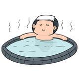 Vektoruppsättning av folk som badar i varmvattenpöl stock illustrationer