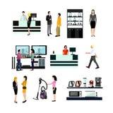 Vektoruppsättning av folk som shoppar i hem- elektroniskt lager royaltyfri illustrationer