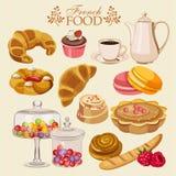 Vektoruppsättning av fransk kokkonst Nationell söt mat av Frankrike Symboler för meny stock illustrationer