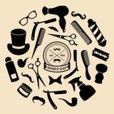 Vektoruppsättning av frisersalongsymboler i plan stil Samling för friseringsalongbeståndsdelar royaltyfri illustrationer