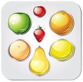 Vektoruppsättning av fruktknappar stock illustrationer