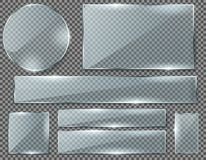 Vektoruppsättning av genomskinliga glass plattor eller baner royaltyfri illustrationer