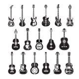 Vektoruppsättning av gitarrer i plan stil stock illustrationer