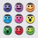 Vektoruppsättning av glansiga Emoticons. Royaltyfri Foto