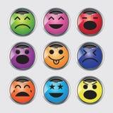 Vektoruppsättning av glansiga Emoticons. Royaltyfria Bilder