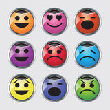 Vektoruppsättning av glansiga Emoticons Arkivbild