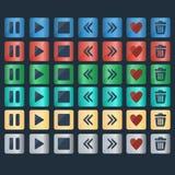 Vektoruppsättning av glansiga knappsymboler för rengöringsdukdesign royaltyfri illustrationer