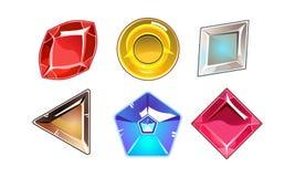 Vektoruppsättning av 6 glansiga stenar av olika former Ljusa gemstones Beståndsdelar för online-mobil lek stock illustrationer