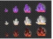 Vektoruppsättning av glass kristaller som isoleras på en genomskinlig bakgrund Kristallevolution från litet till stort royaltyfri illustrationer