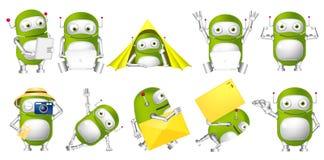 Vektoruppsättning av gröna robotillustrationer Royaltyfri Fotografi
