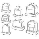 Vektoruppsättning av gravstenen stock illustrationer