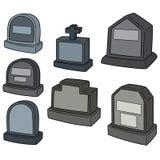 Vektoruppsättning av gravstenen royaltyfri illustrationer