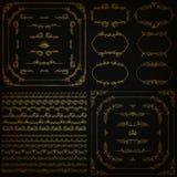 Vektoruppsättning av guld- dekorativa gränser, ram Arkivbilder